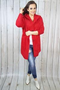 Czerwony sweter hitdnia.com.pl z jedwabiu w stylu casual