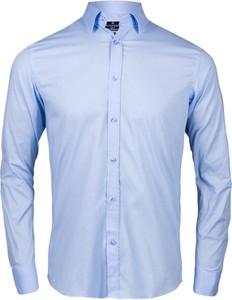 Niebieska koszula WARESHOP z klasycznym kołnierzykiem z długim rękawem