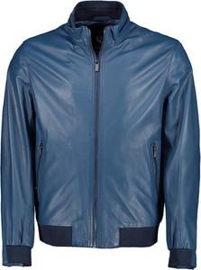 Niebieska kurtka Lavard ze skóry