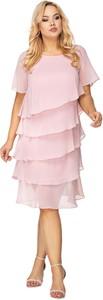 Sukienka Ptakmoda.com z krótkim rękawem z satyny midi