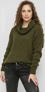 Zielony sweter Freeshion z moheru w stylu casual