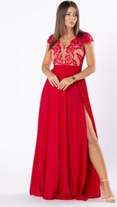 Sukienka Ptakmoda.com z dekoltem w kształcie litery v z tiulu