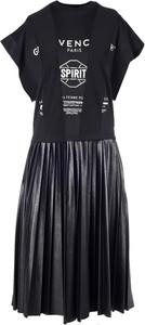 Czarna sukienka Givenchy z krótkim rękawem z okrągłym dekoltem midi