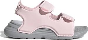 Różowe buty dziecięce letnie Adidas na rzepy ze skóry