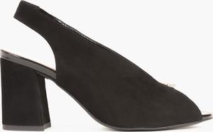 Czarne sandały Kulig z weluru na obcasie