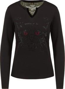 Czarny t-shirt Aeronautica Militare z długim rękawem w militarnym stylu