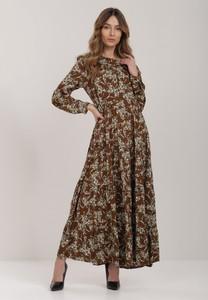 Brązowa sukienka Renee z długim rękawem