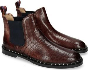 808285f6ef51f Brązowe botki Melvin & Hamilton z płaską podeszwą ze skóry w stylu casual