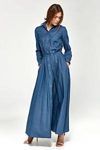 Sukienka Nife z długim rękawem koszulowa z bawełny