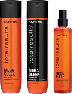 Matrix Zestaw Matrix Total Results Mega Sleek: Szampon wygładzający 300ml + Odżywka wygładzająca 300ml + Iron Smoother - Spray chroniący włosy przed ciepłem 250ml - Wysyłka w 24H!