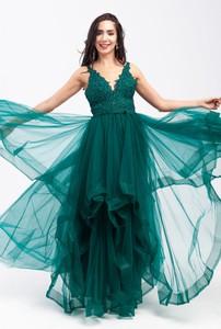 Sukienka Butik Ecru gorsetowa z dekoltem w kształcie litery v maxi
