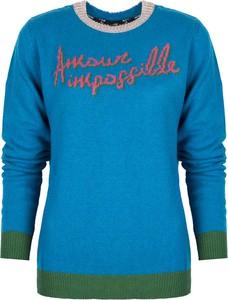 Niebieski sweter Pinko w stylu casual z wełny