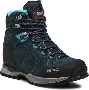 Granatowe buty trekkingowe Meindl z goretexu