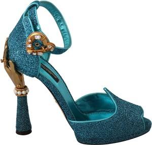 Turkusowe sandały Dolce & Gabbana z klamrami ze skóry na platformie