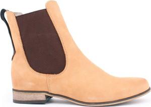 Żółte botki Zapato ze skóry z płaską podeszwą w stylu casual