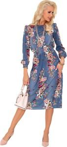 Niebieska sukienka MERRIBEL midi z okrągłym dekoltem w stylu casual