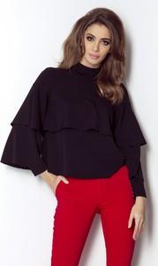 Czarna bluzka Ivon z tkaniny z długim rękawem z golfem