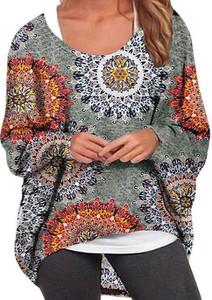 Bluzka Cikelly w geometryczne wzory z okrągłym dekoltem z długim rękawem