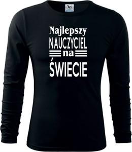 Czarna koszulka z długim rękawem TopKoszulki.pl z długim rękawem