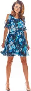 Niebieska sukienka Awama z długim rękawem w stylu casual mini