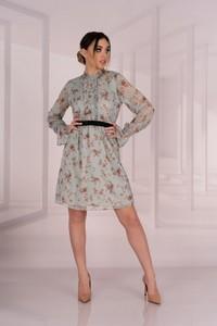 Sukienka MERRIBEL z okrągłym dekoltem z bawełny z długim rękawem
