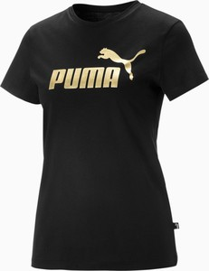Czarny t-shirt Puma z okrągłym dekoltem z krótkim rękawem
