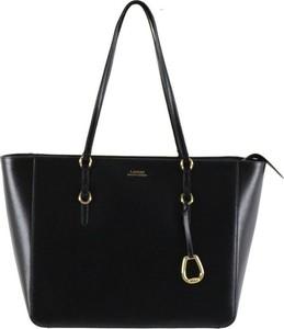 Czarna torebka Ralph Lauren duża ze skóry matowa
