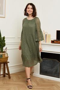 Zielona sukienka Curvy Lady z długim rękawem midi oversize