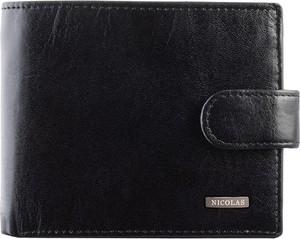 Czarny portfel męski Nicolas ze skóry na bilon