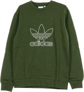 Zielony sweter Adidas w młodzieżowym stylu z okrągłym dekoltem