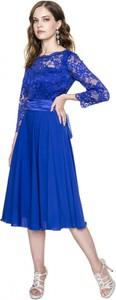 Niebieska sukienka L'AF midi rozkloszowana z okrągłym dekoltem