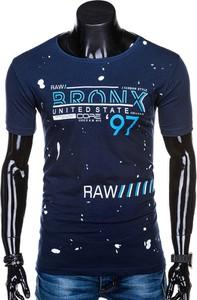 Granatowy t-shirt Edoti z nadrukiem z krótkim rękawem