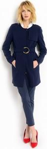 Granatowy płaszcz z asymetryczną patką potis & verso mimbla