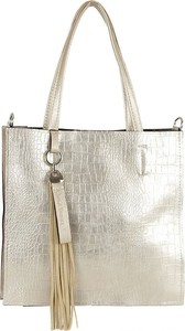 Złota torebka Carla Berry ze skóry z breloczkiem