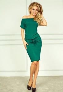 Zielona sukienka NUMOCO midi z krótkim rękawem