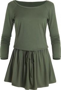 Zielona sukienka Ivon z długim rękawem mini