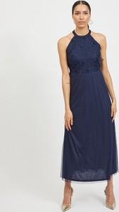 Granatowa sukienka Vila maxi bez rękawów z okrągłym dekoltem