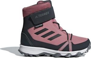 Różowe buty dziecięce zimowe Adidas sznurowane