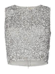 Bluzka Lace & Beads z okrągłym dekoltem bez rękawów w stylu glamour