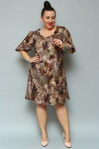 Brązowa sukienka KARKO z tkaniny midi z długim rękawem