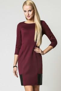 Fioletowa sukienka sukienki.pl ołówkowa mini ze skóry