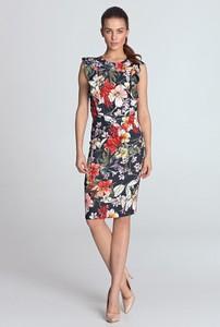 Sukienka Merg ołówkowa midi z okrągłym dekoltem