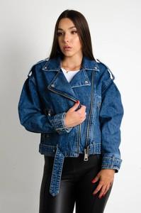 Niebieska kurtka Olika krótka z jeansu bez kaptura