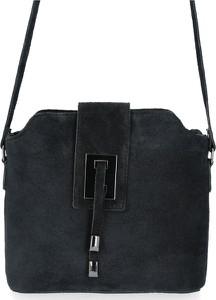 Czarna torebka VITTORIA GOTTI średnia w stylu glamour z zamszu