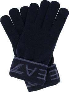 Granatowe rękawiczki EA7 Emporio Armani