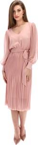 Różowa sukienka POTIS & VERSO midi z szyfonu w stylu casual