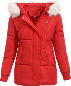 Czerwona kurtka fasoni.pl krótka w stylu casual