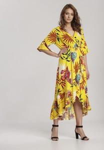 Żółta sukienka Renee z długim rękawem w stylu boho