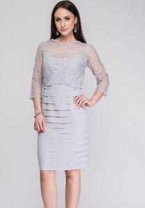 Sukienka Semper z okrągłym dekoltem z długim rękawem
