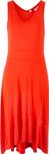 Sukienka bonprix bpc bonprix collection bez rękawów midi z dekoltem w kształcie litery v